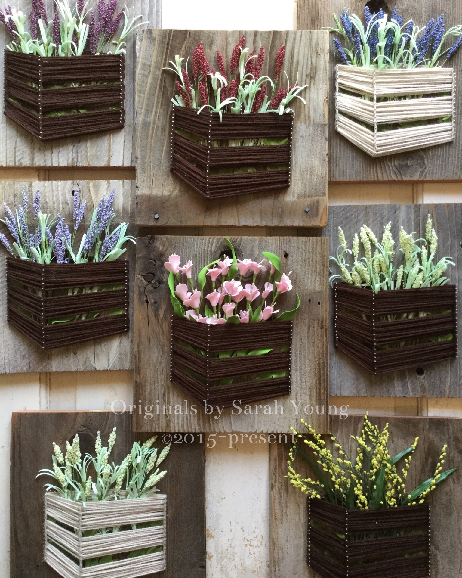 String Crate with Flowers