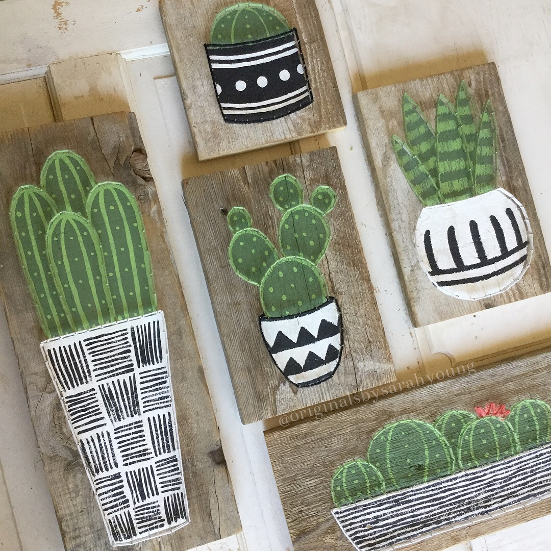 String Outlined Painted Cactus
